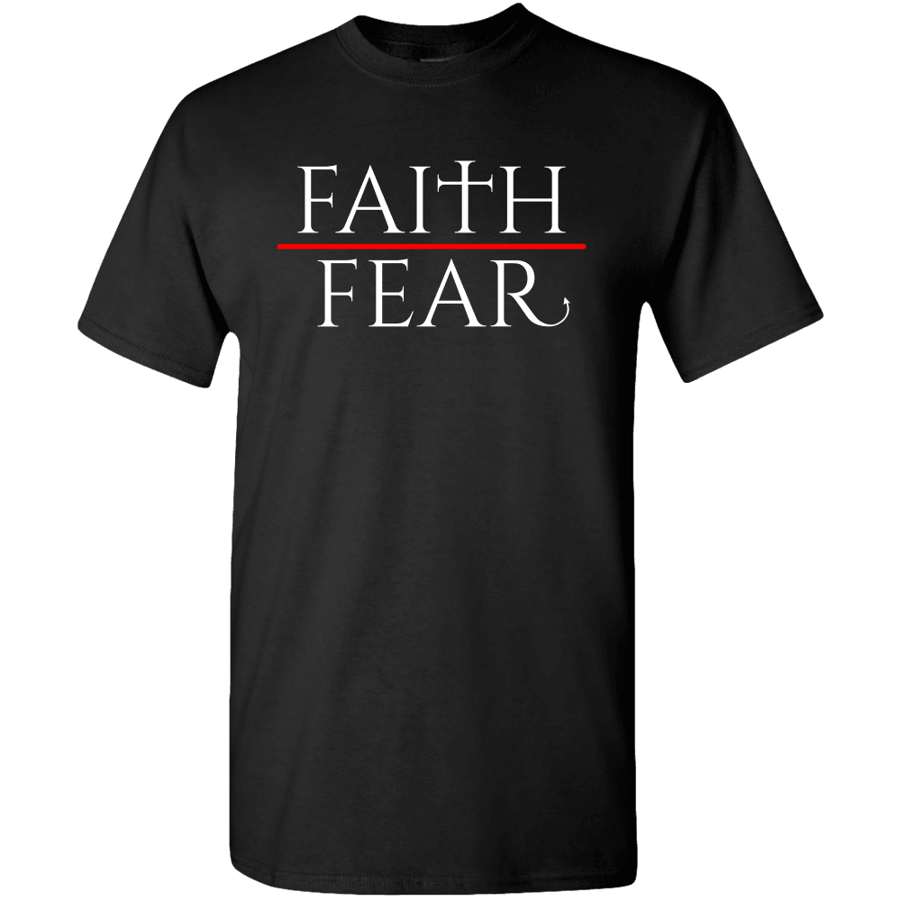 Designs by MyUtopia Shout Out:Faith over Fear Adult Unisex T-Shirt,S / Black,Adult Unisex T-Shirt