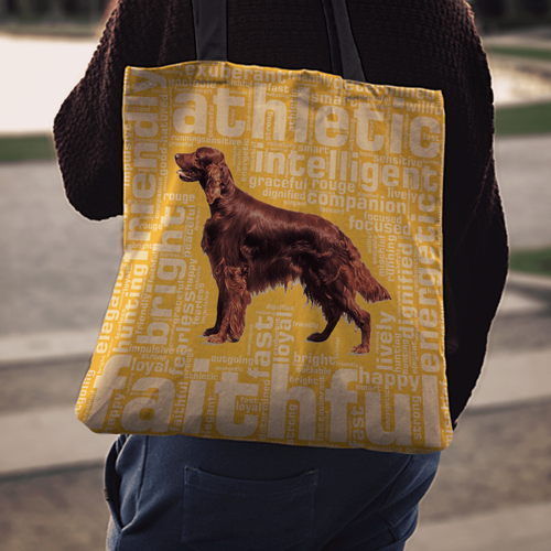 Designs by MyUtopia Shout Out:Faithful Irish Setter Fabric Totebag Reusable Shopping Tote