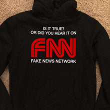 Load image into Gallery viewer, Designs by MyUtopia Shout Out:Fake News Network Trump Humor Core Fleece Pullover Hoodie