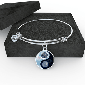 "Designs by MyUtopia Shout Out:Falcon Death Star Ying Yang Handcrafted Jewelry,Bangle Wire Bracelet 8""-9"" / Black/Light Blue,Necklace"