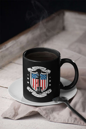 Designs by MyUtopia Shout Out:Fallen Heroes Fallen but Not Forgotten Ceramic Coffee Mug - Black