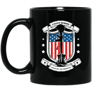 Designs by MyUtopia Shout Out:Fallen Heroes Fallen but Not Forgotten Ceramic Coffee Mug - Black,11 oz / Black,Ceramic Coffee Mug