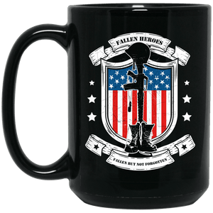 Designs by MyUtopia Shout Out:Fallen Heroes Fallen but Not Forgotten Ceramic Coffee Mug - Black,15 oz / Black,Ceramic Coffee Mug
