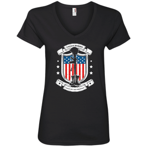 Designs by MyUtopia Shout Out:Fallen Heroes Fallen but Not Forgotten Ladies' V-Neck T-Shirt,S / Black,Ladies T-Shirts