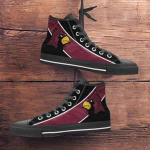 Designs by MyUtopia Shout Out:Fan Art Arizona Cardinals Canvas High Top Shoes,Men's / Mens US 5 (EU38) / Red/Black,High Top Sneakers