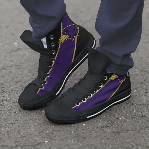 Designs by MyUtopia Shout Out:Fan Art Baltimore Canvas High Top Shoes,Men's / Mens US 5 (EU38) / Purple/Black,High Top Sneakers