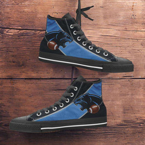Designs by MyUtopia Shout Out:Fan Art Carolina Canvas High Top Shoes,Men's / Mens US 5 (EU38) / Blue/Black,High Top Sneakers
