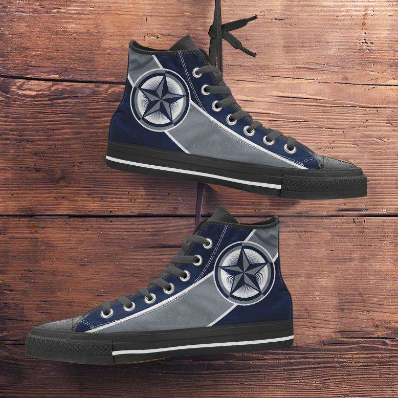 Designs by MyUtopia Shout Out:Fan Art Dallas Cowboys Canvas High Top Shoes,Men's / Mens US 5 (EU38) / Blue/Silver,High Top Sneakers