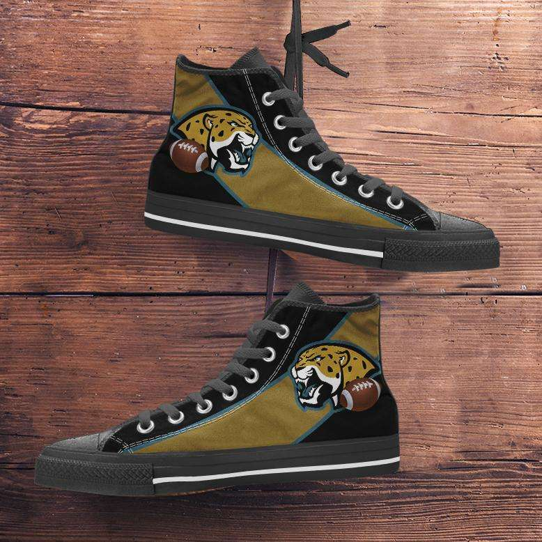 Designs by MyUtopia Shout Out:Fan Art Jacksonville Jaguars Canvas High Top Shoes,Men's / Mens US 5 (EU38) / Black/Brown,High Top Sneakers