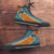Designs by MyUtopia Shout Out:Fan Art Miami Dolphins Canvas High Top Shoes,Men's / Mens US 5 (EU38) / Aqua Green/Orange,High Top Sneakers