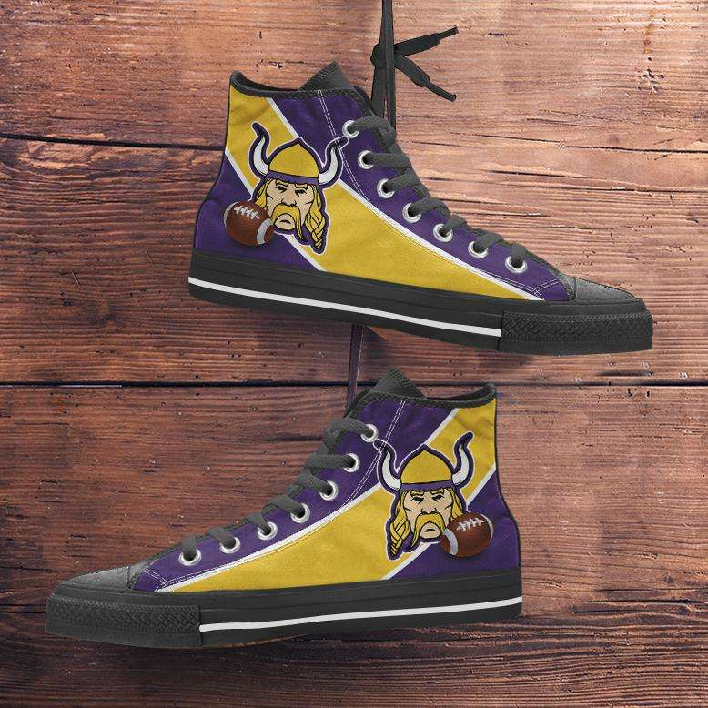 Designs by MyUtopia Shout Out:Fan Art Minnesota Vikings Canvas High Top Shoes,Men's / Mens US 5 (EU38) / Purple/Yellow,High Top Sneakers