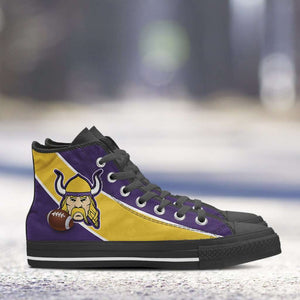 Designs by MyUtopia Shout Out:Fan Art Minnesota Vikings Canvas High Top Shoes
