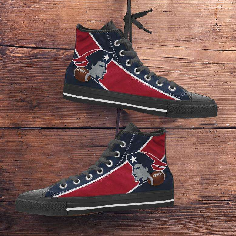 Designs by MyUtopia Shout Out:Fan Art New England Canvas High Top Shoes,Men's / Mens US 5 (EU38) / Red/Blue,High Top Sneakers