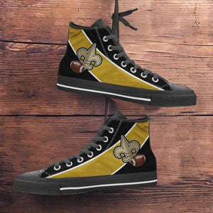 Designs by MyUtopia Shout Out:Fan Art New Orleans Canvas High Top Shoes,Men's / Mens US 5 (EU38) / Black/Gold,High Top Sneakers