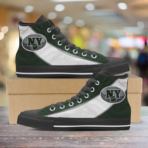 Designs by MyUtopia Shout Out:Fan Art New York Jets Canvas High Top Shoes,Men's / Mens US 5 (EU38) / Green/White,High Top Sneakers
