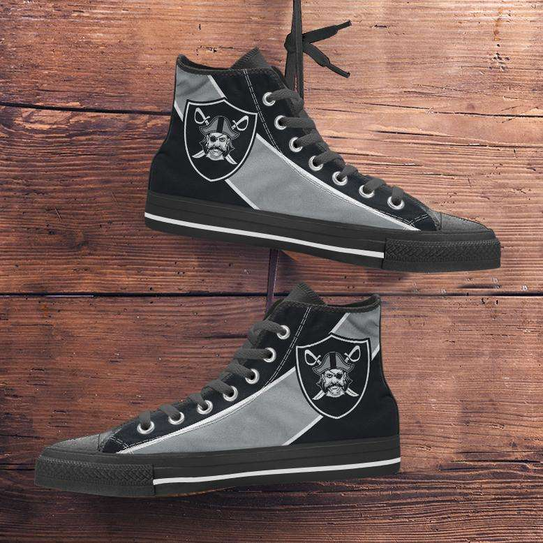 Designs by MyUtopia Shout Out:Fan Art Oakland Raiders Canvas High Top Shoes,Men's / Mens US 5 (EU38) / Black/Silver,High Top Sneakers