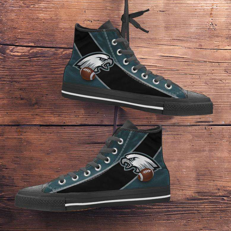 Designs by MyUtopia Shout Out:Fan Art Philadelphia Canvas High Top Shoes,Men's / Mens US 5 (EU38) / Midnight Green/Black,High Top Sneakers
