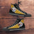 Designs by MyUtopia Shout Out:Fan Art Pittsburgh Canvas High Top Shoes,Men's / Mens US 5 (EU38) / Black/Yellow,High Top Sneakers