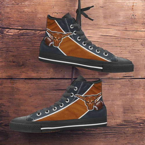 Designs by MyUtopia Shout Out:Fan Art Texas Longhorns Canvas High Top Shoes,Men's / Mens US 5 (EU38) / Burnt Orange/Black,High Top Sneakers