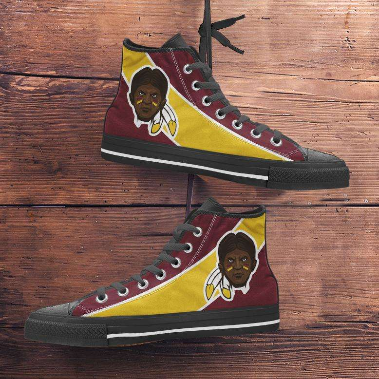 Designs by MyUtopia Shout Out:Fan Art Washington Redskins Canvas High Top Shoes,Men's / Mens US 5 (EU38) / Burgundy Yellow,High Top Sneakers