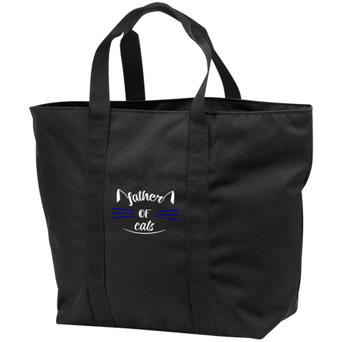 Designs by MyUtopia Shout Out:Father of Cats Embroidered All Purpose Tote Bag w Zipper Closure and side pocket,Black/Black / One Size,Totebag