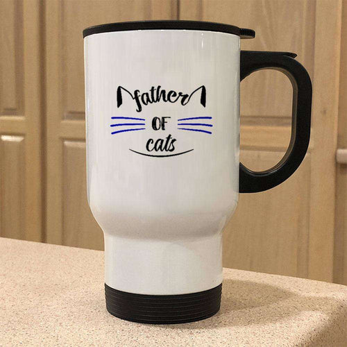 Designs by MyUtopia Shout Out:Father of Cats Stainless Steel Travel Mug
