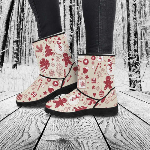 Designs by MyUtopia Shout Out:Faux Fur Boots - Gingerbread Men
