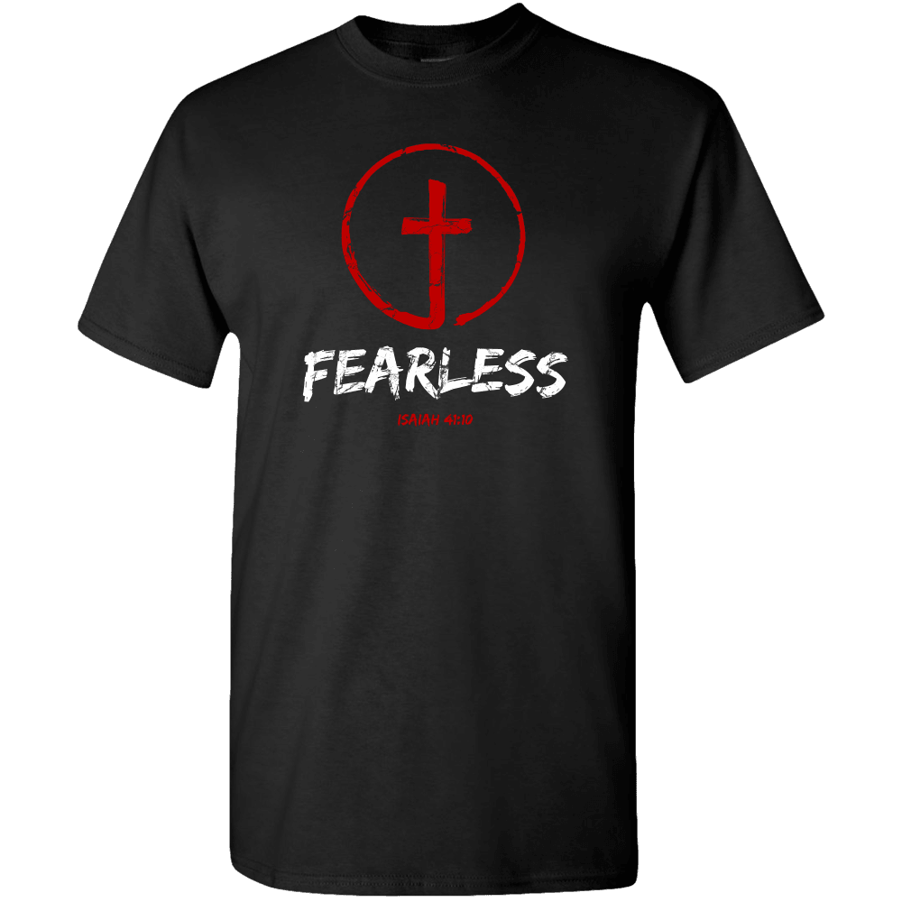 Designs by MyUtopia Shout Out:Fearless Circle Cross Isaiah 41:10 Adult Unisex T-Shirt,S / Black,Adult Unisex T-Shirt