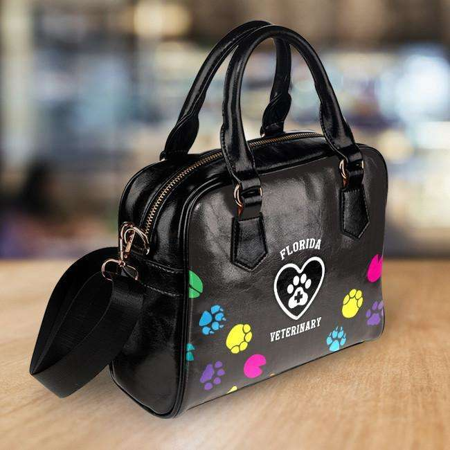 Designs by MyUtopia Shout Out:FL Veterinary Faux Leather Handbag with Shoulder Strap,Black,Handbag Purse