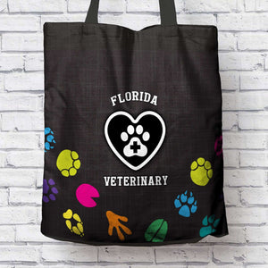 Designs by MyUtopia Shout Out:Florida Veterinary Fabric Totebag Reusable Shopping Tote