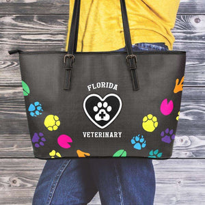 Designs by MyUtopia Shout Out:Florida Veterinary Faux Leather Totebag Purse,Medium (10 x 16 x 5) / Black/Multi,tote bag purse