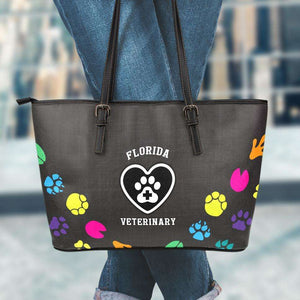 Designs by MyUtopia Shout Out:Florida Veterinary Faux Leather Totebag Purse,Large (11 x 17 x 6) / Black/Multi,tote bag purse