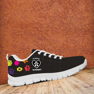 Designs by MyUtopia Shout Out:Florida Veterinary Running Sneakers,Women's / Ladies US5 (EU35) / Black/Multi,Running Shoes