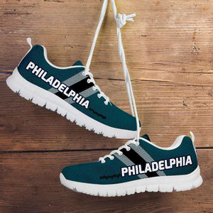 Designs by MyUtopia Shout Out:#FlyingHigh Philadelphia Fan Running Shoes,Kid's / 11 CHILD (EU28) / Midnight Green/Black,Running Shoes