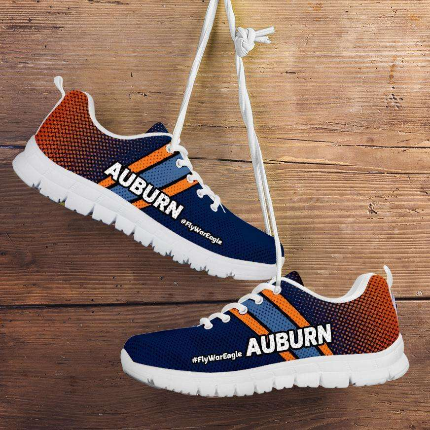 Designs by MyUtopia Shout Out:#FlyWarEagle Auburn Fan Running Shoes,Mens US5 (EU38) / Navy Blue/Orange,Running Shoes