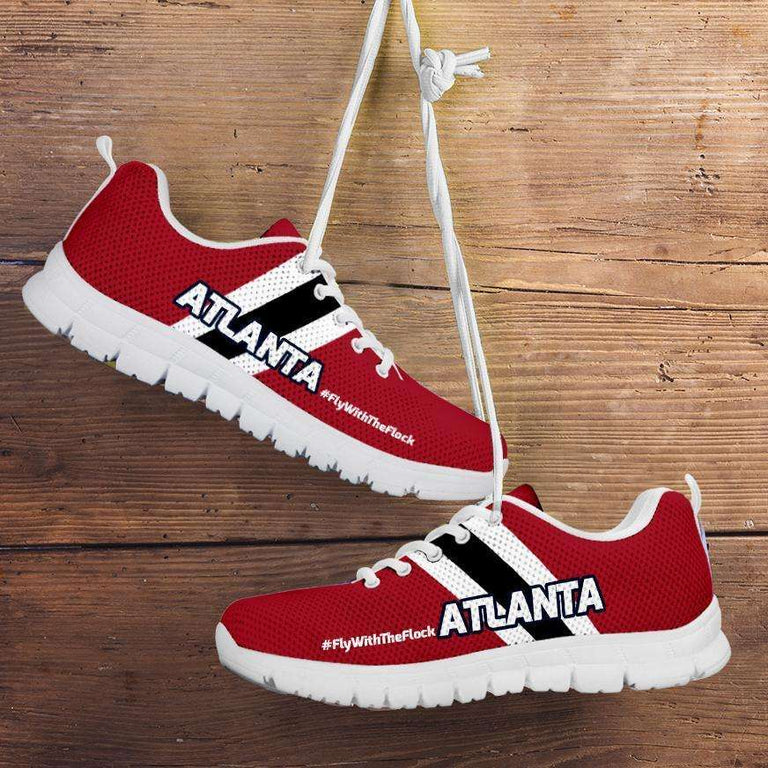 Designs by MyUtopia Shout Out:#FlyWithTheFlock Atlanta Fan Running Shoes,Kid's / 11 CHILD (EU28) / Red,Running Shoes