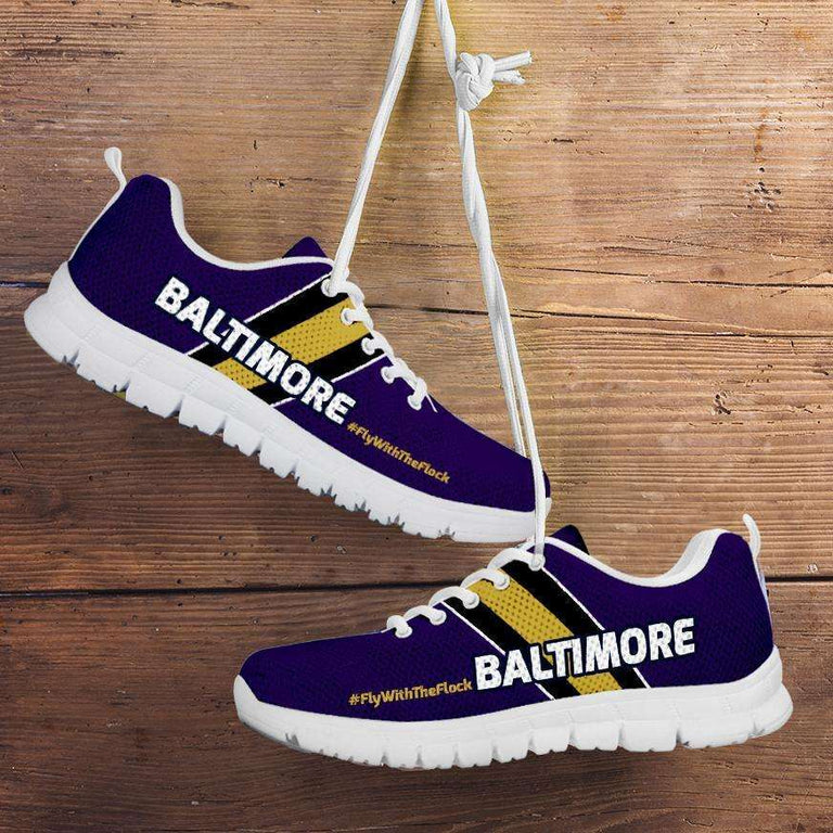 Designs by MyUtopia Shout Out:#FlyWithTheFlock Baltimore Fan Running Shoes,Kid's / 11 CHILD (EU28) / Violet,Running Shoes