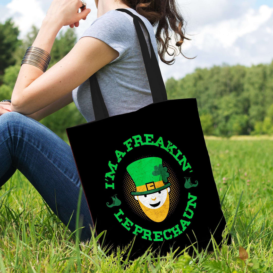 Designs by MyUtopia Shout Out:Freakin' Leprechaun Fabric Totebag Reusable Shopping Tote