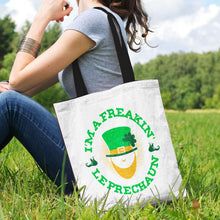 Load image into Gallery viewer, Designs by MyUtopia Shout Out:Freakin' Leprechaun Fabric Totebag Reusable Shopping Tote