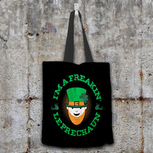 Load image into Gallery viewer, Designs by MyUtopia Shout Out:Freakin' Leprechaun Fabric Totebag Reusable Shopping Tote,Black,Reusable Fabric Shopping Tote Bag
