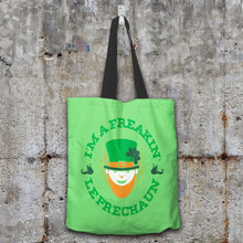 Load image into Gallery viewer, Designs by MyUtopia Shout Out:Freakin' Leprechaun Fabric Totebag Reusable Shopping Tote,Pastel Green,Reusable Fabric Shopping Tote Bag