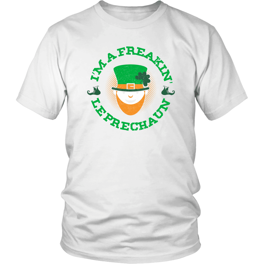 Designs by MyUtopia Shout Out:Freakin' Leprechaun T-Shirt,White / S,Adult Unisex T-Shirt