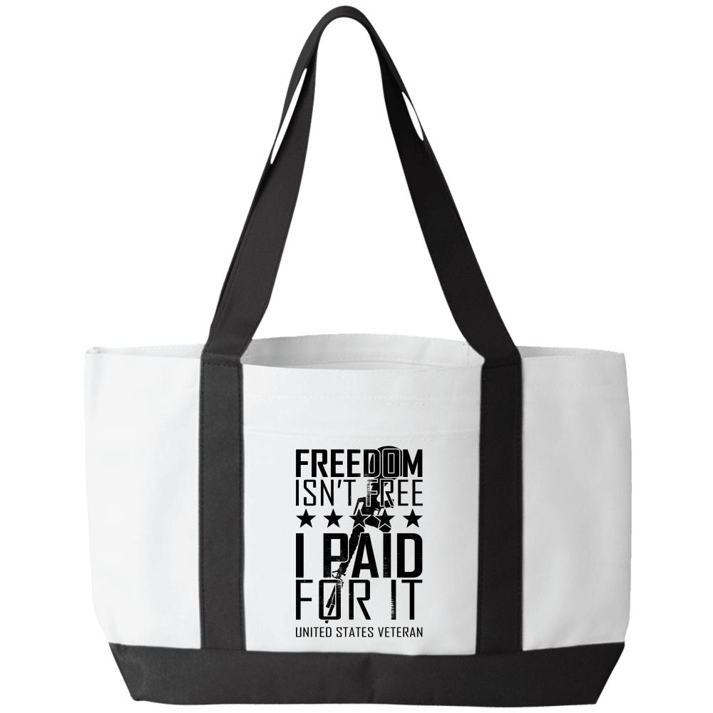 Designs by MyUtopia Shout Out:Freedom Isn't Free, I Paid For It, US Veteran Canvas Totebag Gym / Beach / Pool Gear Bag,Default Title,Gym Totebag