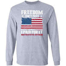Load image into Gallery viewer, Designs by MyUtopia Shout Out:Freedom Isn't Free, I Paid For It, US Veteran, US Flag Long Sleeve Ultra Cotton T-Shirt,Sport Grey / S,Long Sleeve T-Shirts