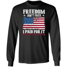 Load image into Gallery viewer, Designs by MyUtopia Shout Out:Freedom Isn't Free, I Paid For It, US Veteran, US Flag Long Sleeve Ultra Cotton T-Shirt,Black / S,Long Sleeve T-Shirts