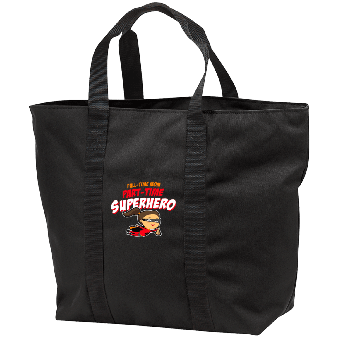 Designs by MyUtopia Shout Out:Full-time Mom Part-Time Superhero All Purpose Tote Bag w Zipper Closure and side pocket,Black/Black / One Size,Totebag