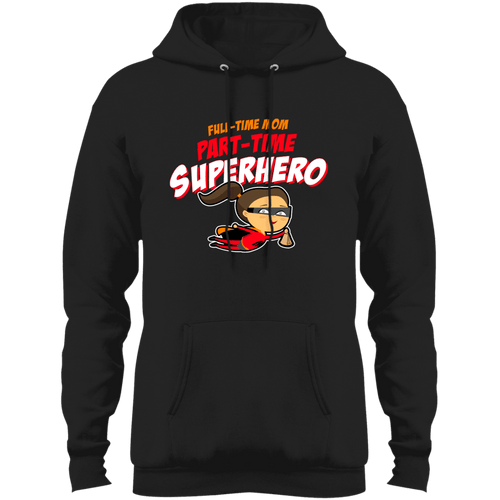 Designs by MyUtopia Shout Out:Full-time Mom Part-Time Superhero Core Fleece Pullover Hoodie,Jet Black / S,Sweatshirts
