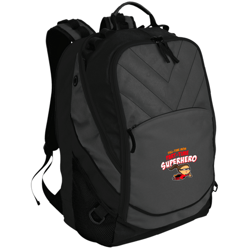 Designs by MyUtopia Shout Out:Full-time Mom Part-Time Superhero Laptop Computer Backpack,Dark Charcoal/Black / One Size,Backpacks