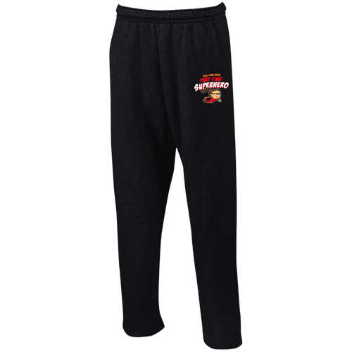 Designs by MyUtopia Shout Out:Full-time Mom Part-Time Superhero Open Bottom Sweatpants with Pockets,Black / S,Pants