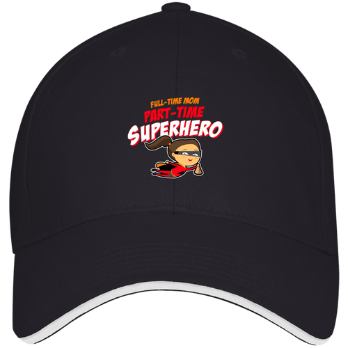 Designs by MyUtopia Shout Out:Full-time Mom Part-Time Superhero USA Made Structured Twill Cap With Sandwich Visor,Navy/White / One Size,Hats